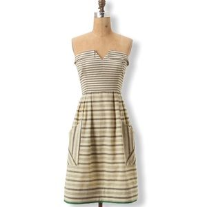 Anthropologie Dress 4 Strapless Changing Stripes